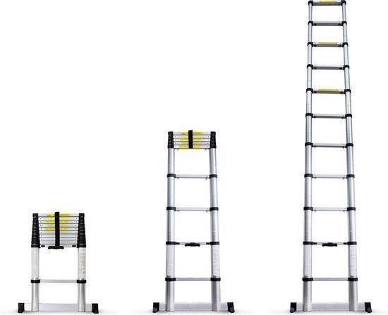 Telescopische Ladder 3.8 Meter - Met stabilisatiebalk - Aluminium