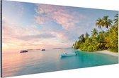 Panoramische foto van de Maldiven Aluminium 120x80 cm - Foto print op Aluminium (metaal wanddecoratie) / Zee en Strand