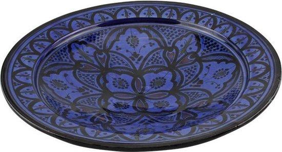 Marokkaanse fruitschaal blauw H 8 cm Ø 27 cm