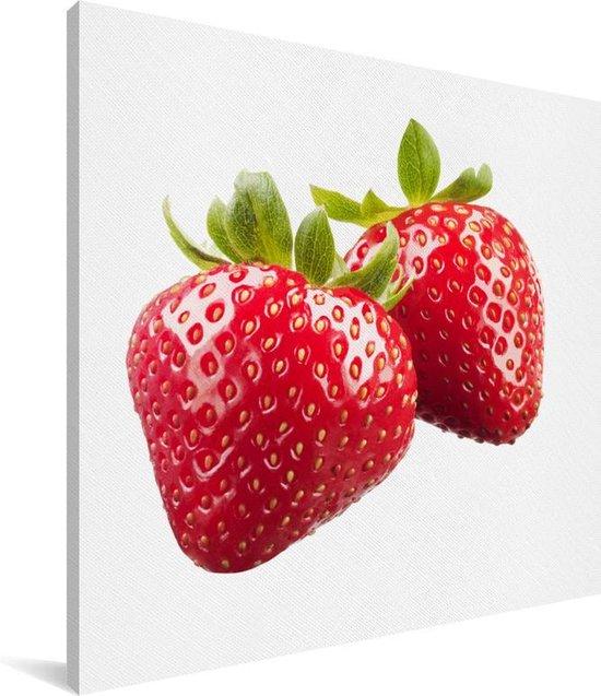 Aardbeien naast elkaar Canvas 90x90 cm - Foto print op Canvas schilderij (Wanddecoratie woonkamer / slaapkamer)