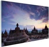 Borobudur bij zonsopkomst Glas 180x120 cm - Foto print op Glas (Plexiglas wanddecoratie) XXL / Groot formaat!