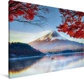 De Japanse Fuji berg in Azië tijdens de herfst Canvas 60x40 cm - Foto print op Canvas schilderij (Wanddecoratie woonkamer / slaapkamer)