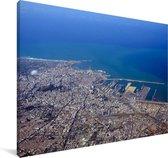 Luchtfoto van de stad Casablanca in Marokko Canvas 90x60 cm - Foto print op Canvas schilderij (Wanddecoratie woonkamer / slaapkamer)