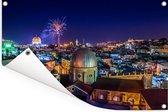 Vuurwerk boven Jeruzalem en de Heilig Grafkerk Tuinposter 90x60 cm - Tuindoek / Buitencanvas / Schilderijen voor buiten (tuin decoratie)