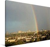 Prachtige regenboog over Den Haag Canvas 180x120 cm - Foto print op Canvas schilderij (Wanddecoratie woonkamer / slaapkamer) XXL / Groot formaat!