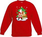 Rode kersttrui kerstman en rendier Rudolf voor kerstboom voor jongens en meisjes - Kerstruien kind 12-13 jaar (152/164)