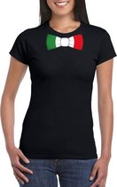 Zwart t-shirt met Italie vlag strikje dames S