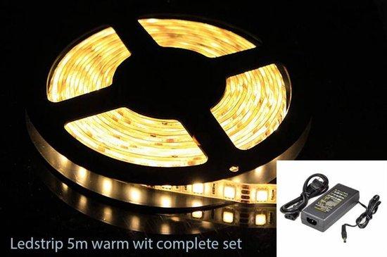 LEDstrip LED strip Warm Wit compleet 5m 5meter 5050 set