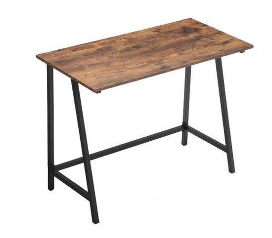 MIRA Home - Bureau - Tafel - Industrieel - Vintage - Metalen poten - Bruin - Hout  - 100x50x75