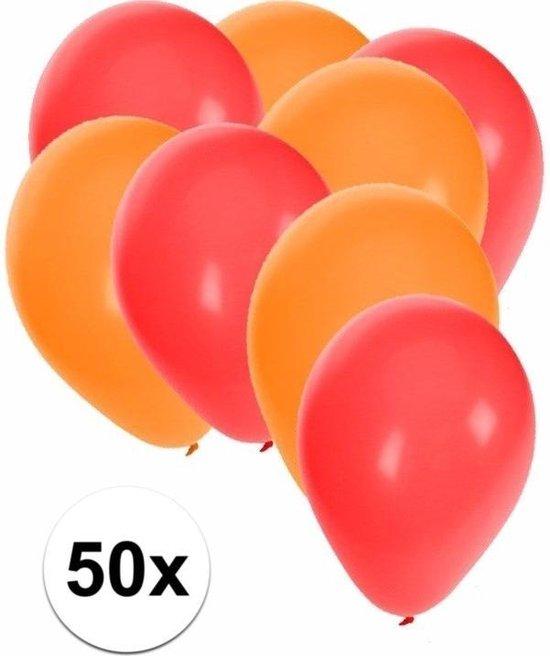 50x ballonnen rood en oranje - knoopballonnen
