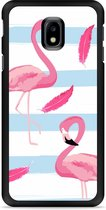 Galaxy J3 2017 Hardcase Hoesje Flamingo Feathers