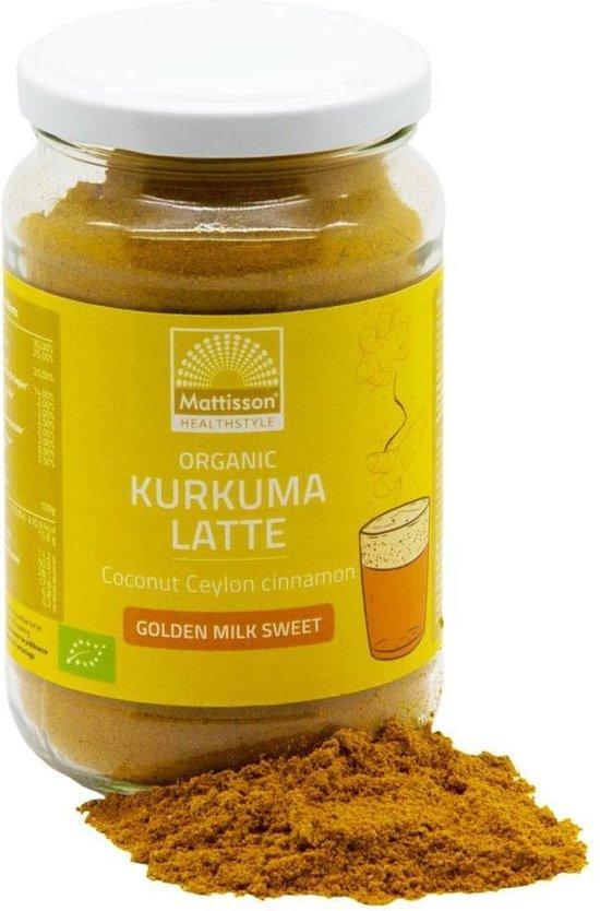 Biologische Kurkuma Latte ''Goldenmilk'' Gezoet  - Ceylon Kaneel Kokos