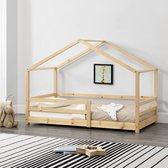 Kinderbed huisbed met uitvalbeveiliging 80x160 hout