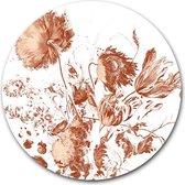 Ronde muursticker Royal Vintage Flowers | 60 cm behangsticker wandcirkel | Wooncirkel wanddecoratie | Herpositioneerbare wandsticker | Muurcirkel uniek Stilleven