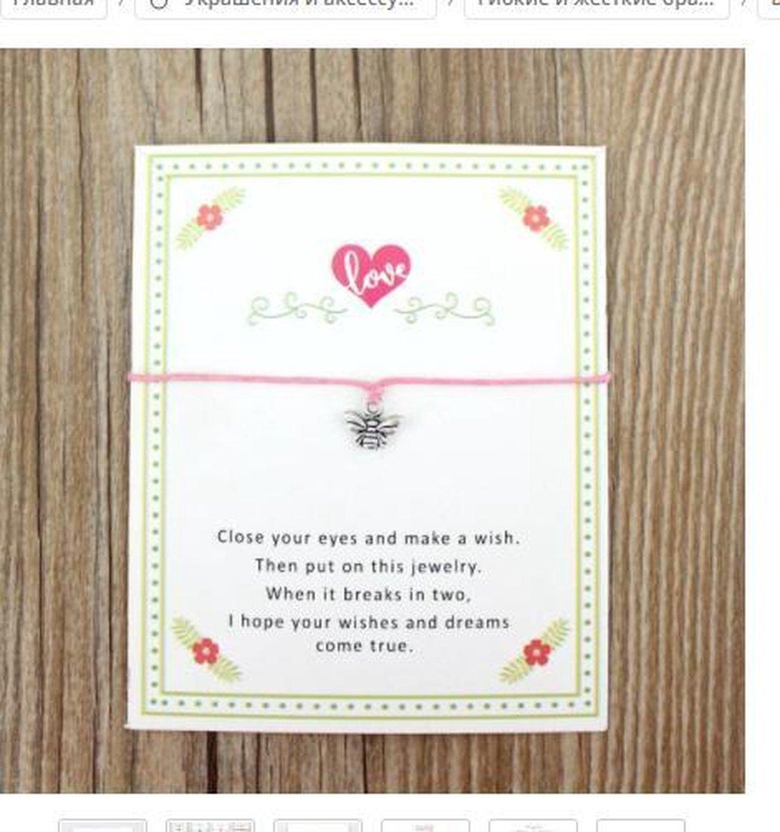 Armband roze - make a wish - hanger vlinder