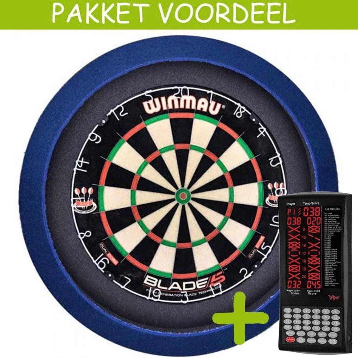 Elektronisch Dart Scorebord VoordeelPakket (Viper ) - Blade 5 - Dartbordverlichting Basic (Blauw)