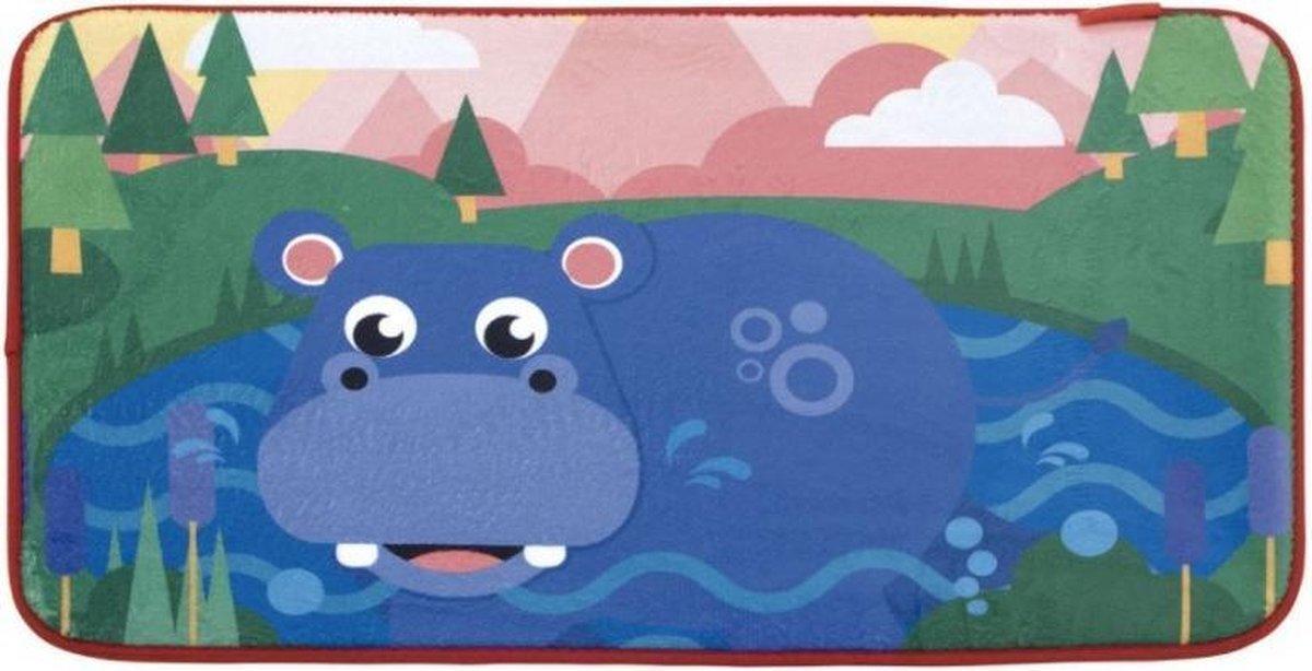 Fisher Price vloerkleed fleece nijlpaard 75 x 45 cm multicolor