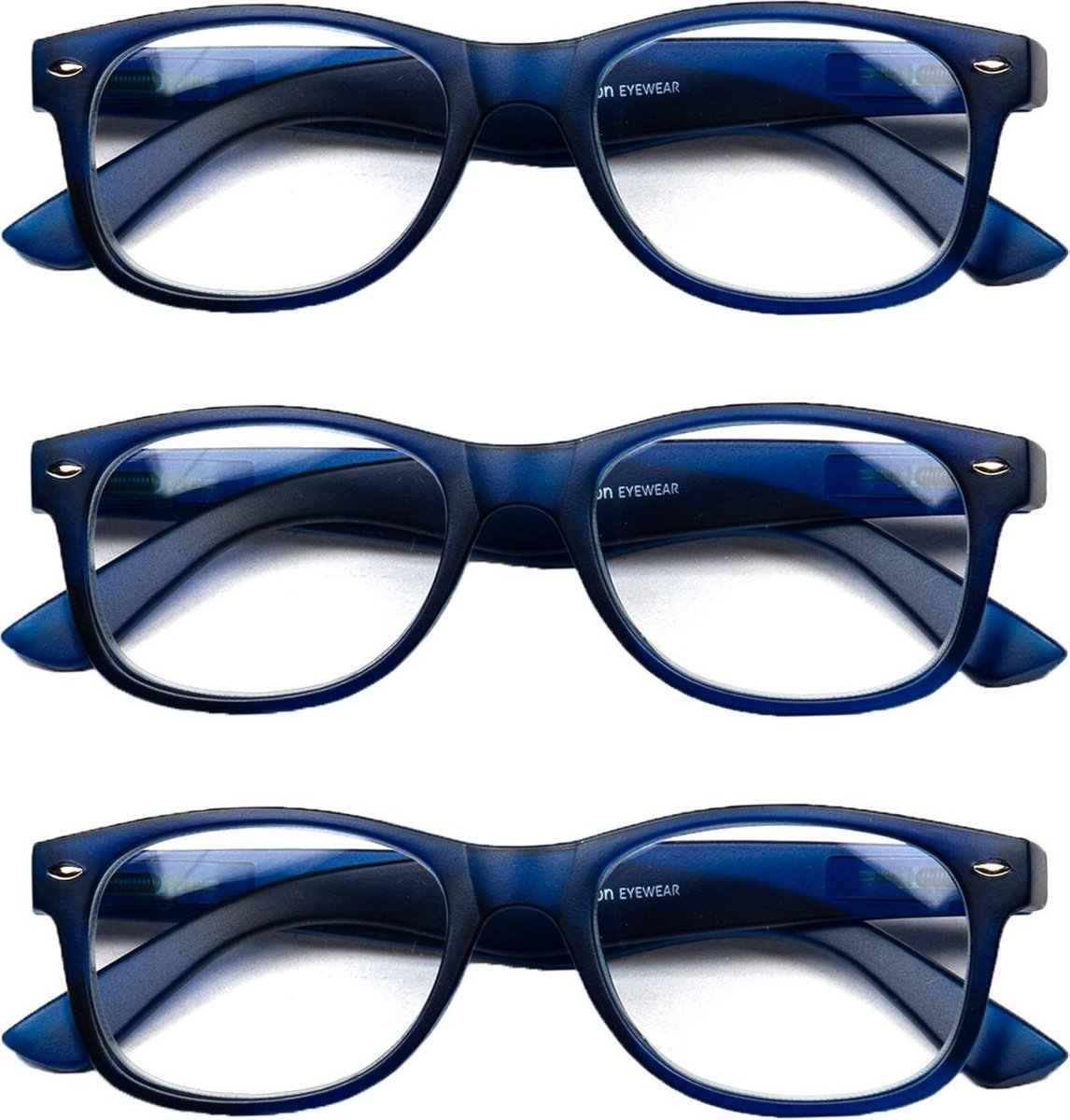 Melleson Eyewear leesbril mat blauw +1,50 - 3 stuks - incl. pouche kopen