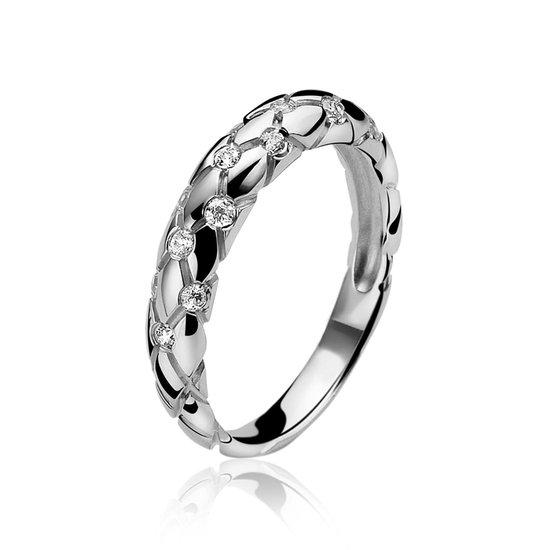Zinzi - Zilveren Ring - Ingegraveerde Lijnen - Maat 54 ZIR875-54 - Zinzi