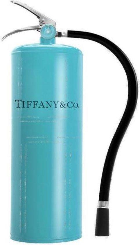 60 x 80 cm - Glasschilderij - Blauwe brandblusser - Tiffany & Co. - schilderij fotokunst - met goudfolie - foto print op glas