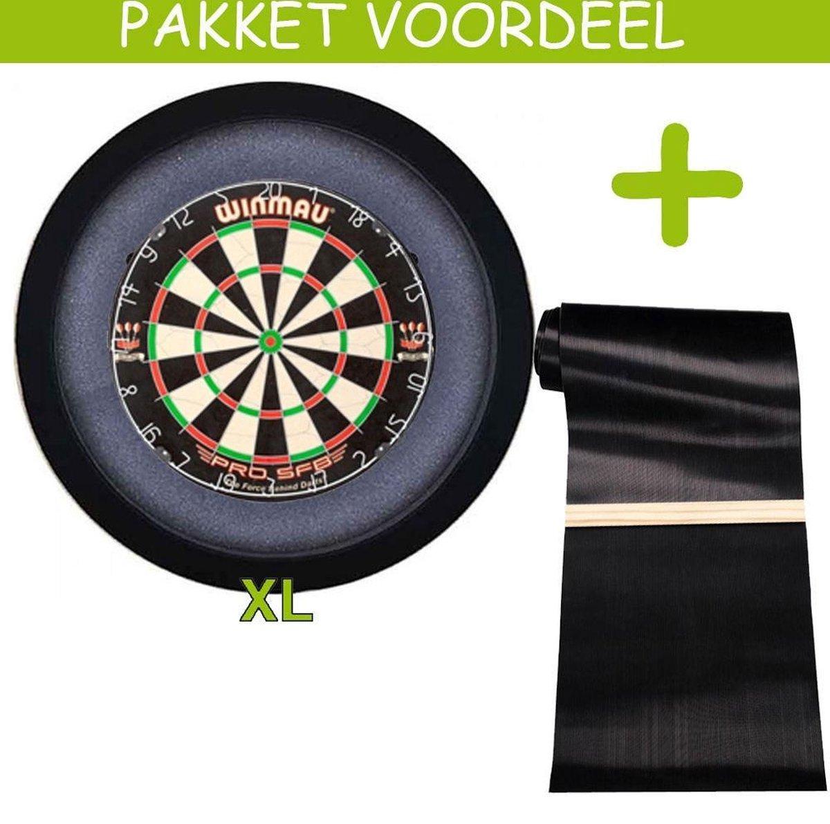Dartbaan Pro - Pro SFB - 90 x 300 Inclusief Oche - Dartbordverlichting Basic XL - (Zwart)