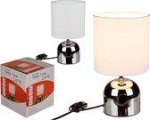 Metalen tafellamp/bureaulamp met witte lampenkap - Schemerlamp 26 cm - E14 - Schemerlampen/bureaulampen
