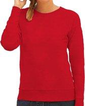 Rode sweater / sweatshirt trui met raglan mouwen en ronde hals voor dames - rood - basic sweaters L (40)