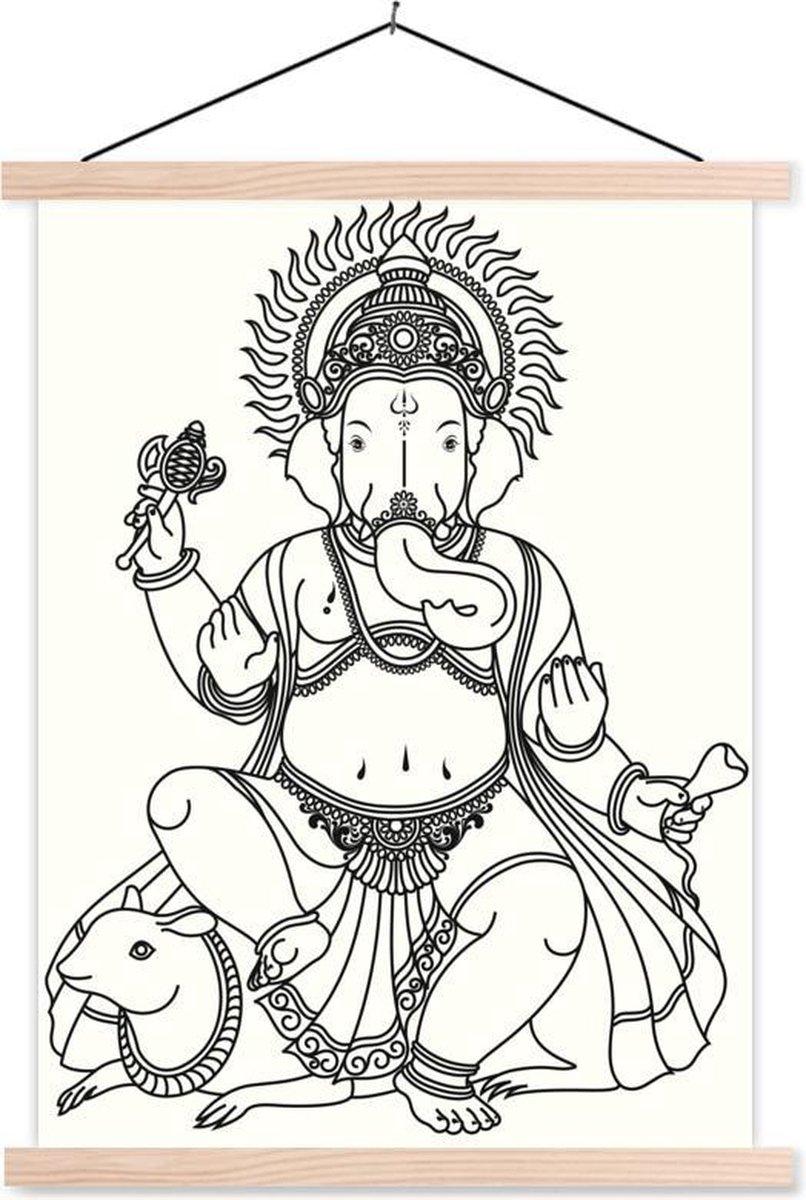 Zwart wit illustratie van de hindoegod Ganesha schoolplaat platte latten blank 60x80 cm - Foto print op textielposter (wanddecoratie woonkamer/slaapkamer)