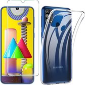 Samsung Galaxy M31  Hoesje - Soft TPU Siliconen Case & 2X Tempered Glas Combi - Transparant