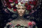 120 x 80 cm - glasschilderij - Vrouw, water en bloemen - schilderij fotokunst - foto print op glas