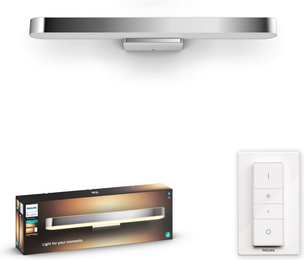 Philips Hue Adore Badkamer Wandlamp - Chrome - White Ambiance - Bluetooth - incl. Dimmer switch
