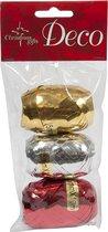 Christmas Gifts Cadeaulint 10 Meter Rood/goud/zilver 3 Stuks
