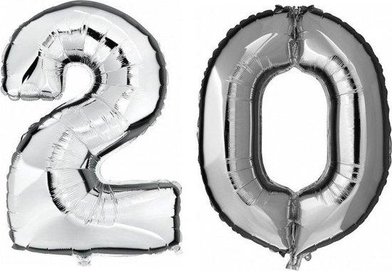 20 jaar zilveren folie ballonnen 88 cm leeftijd/cijfer - Leeftijdsartikelen 20e verjaardag versiering - Heliumballonnen