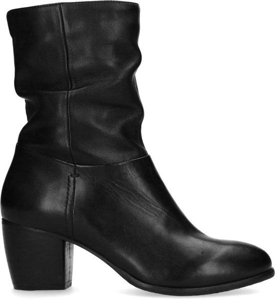 Sacha Dames Korte zwarte leren laarzen met hak Maat 37