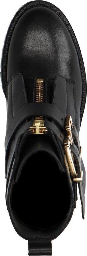 Sacha Dames Zwarte biker boots met gouden gespen Maat 37