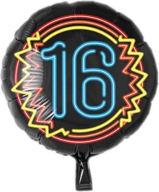 Folieballon - 16 Jaar - Neon - Zonder vulling