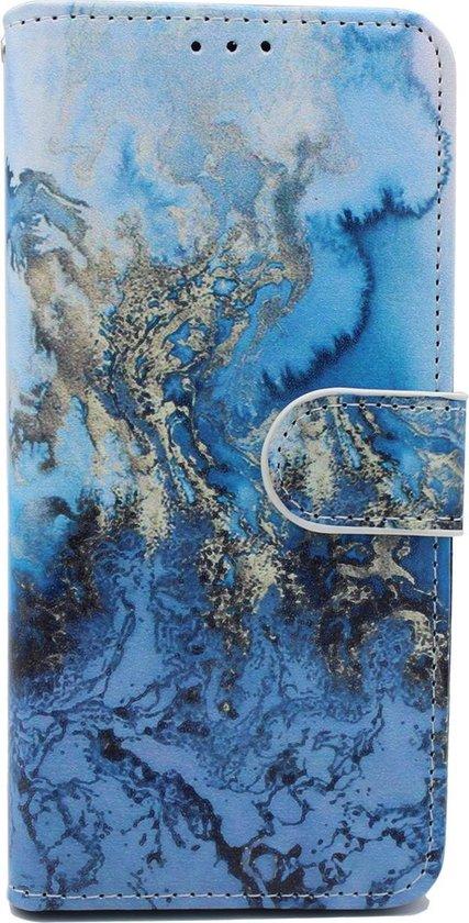 Apple iPhone XR Hoesje met Print - Portemonnee Book Case - Kaarthouder & Magneetlipje - Marmer Blauw