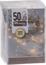 Kerstverlichting op batterij met timer warm wit 50 lampjes - Warm witte kerstlampjes/kerstlichtjes