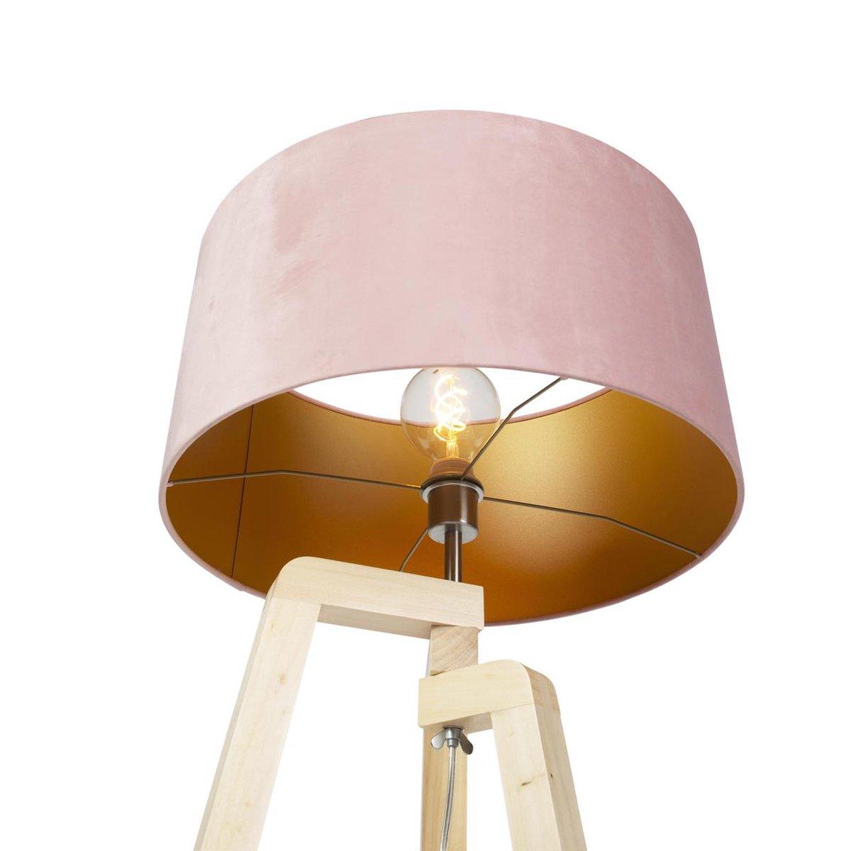 Bol Com Qazqa Puros Tripod Driepoot Vloerlamp 1 Lichts H 1450 Mm Roze