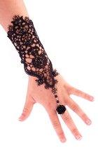 Armband/handschoen kant met zwarte bloem per stuk