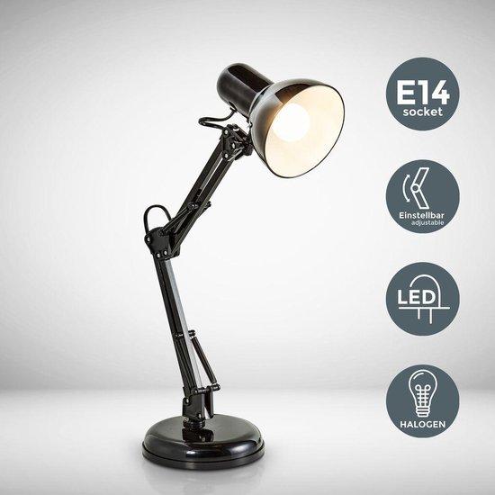 B.K.Licht - Draco Tafellamp - bureaulamp - leeslmap - industrieel - zwart - retro - metaal - met scharnierarm - excl. E14