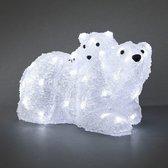 Konstsmide 6191 - Verlicht kerstfiguur - 96 lamps LED ijsbeer met jong - 38x21 cm - 24V - voor buiten - koelwit