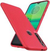 Motorola One Macro Twill Slim Texture Back Cover Rood