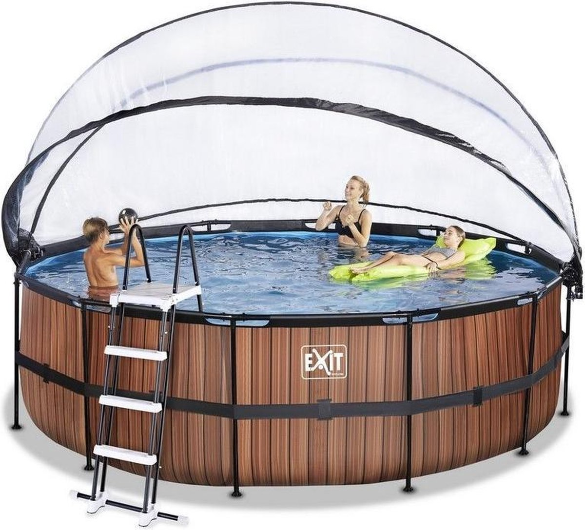 EXIT Wood zwembad ø450x122cm met overkapping en zandfilter- en warmtepomp - bruin