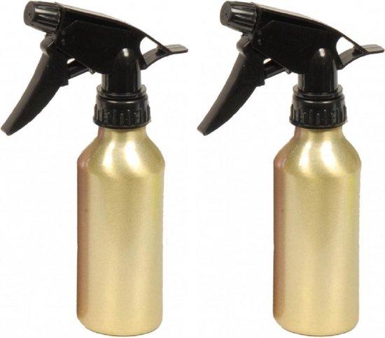 2x stuks waterverstuiver metallic goud 200 ml