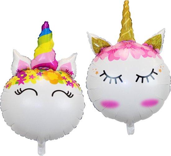 Unicorn Ballonnen Verjaardag Versiering Eenhoorn Decoratie Feest Versiering Helium ballonnen - 70 Cm Met Rietje – 2 Stuks