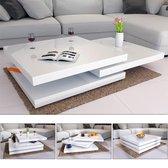 Casaria Salontafel Wit | 3 lagen | 360° draaibaar | 60x60x30,5cm | New York