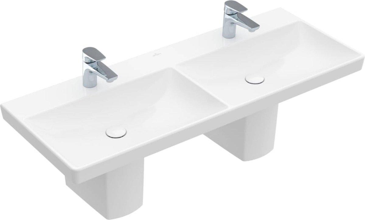 Villeroy & Boch Avento wastafel Dubbel 120x47cm 2 kraangaten zonder overloop wit CeramicPlus
