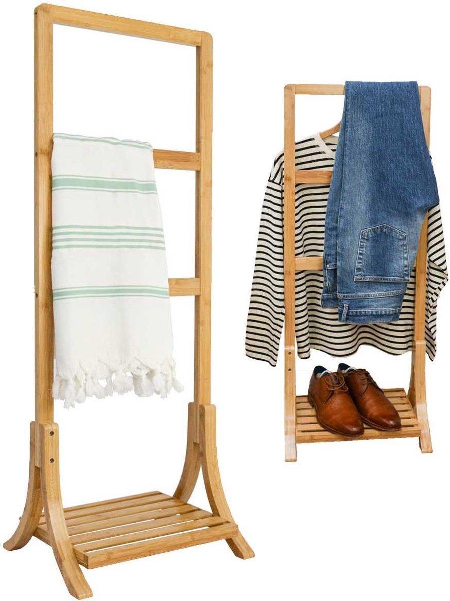 Duurzaam Bamboe Handdoekenrek 40x30x102 Vrijstaand Badkamer Handdoekhouder rek