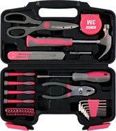 Kinzo Gereedschapsset 39 Stuks - Voor Huishoudelijk Gebruik - Pink